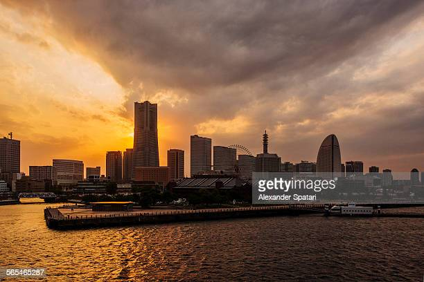 Yokohama skyline at sunset, Japan