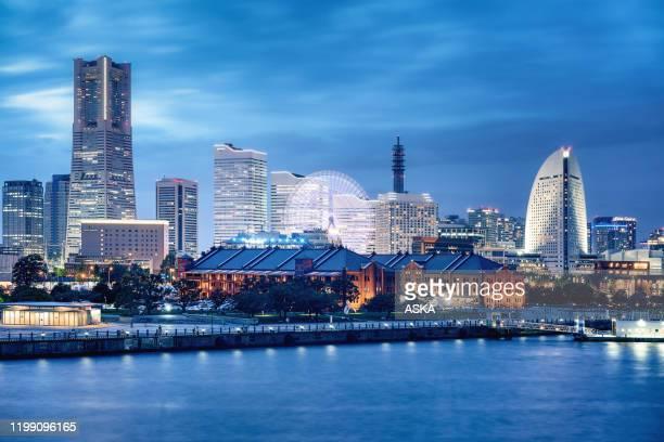 yokohama skyline,japan - yokohama stock pictures, royalty-free photos & images
