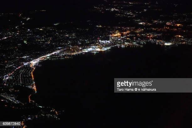 Yokosuka city aerial night view from airplane