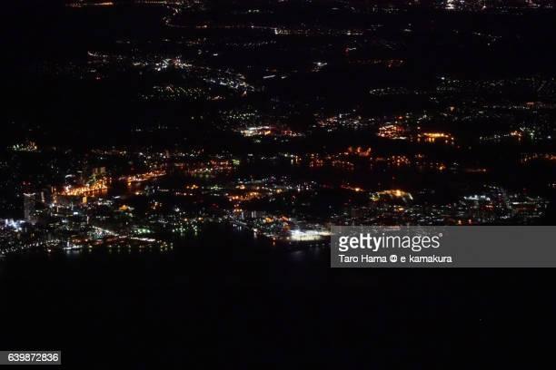 Yokosuka naval base aerial night view from airplane