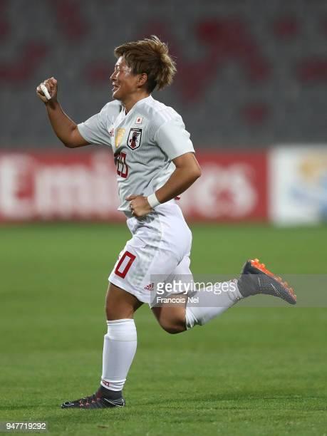 Yokoyama Kumi of Japan celebrates scoring a penalty during the AFC Women's Asian Cup semi final match between China and Japan at the King Abdullah II...
