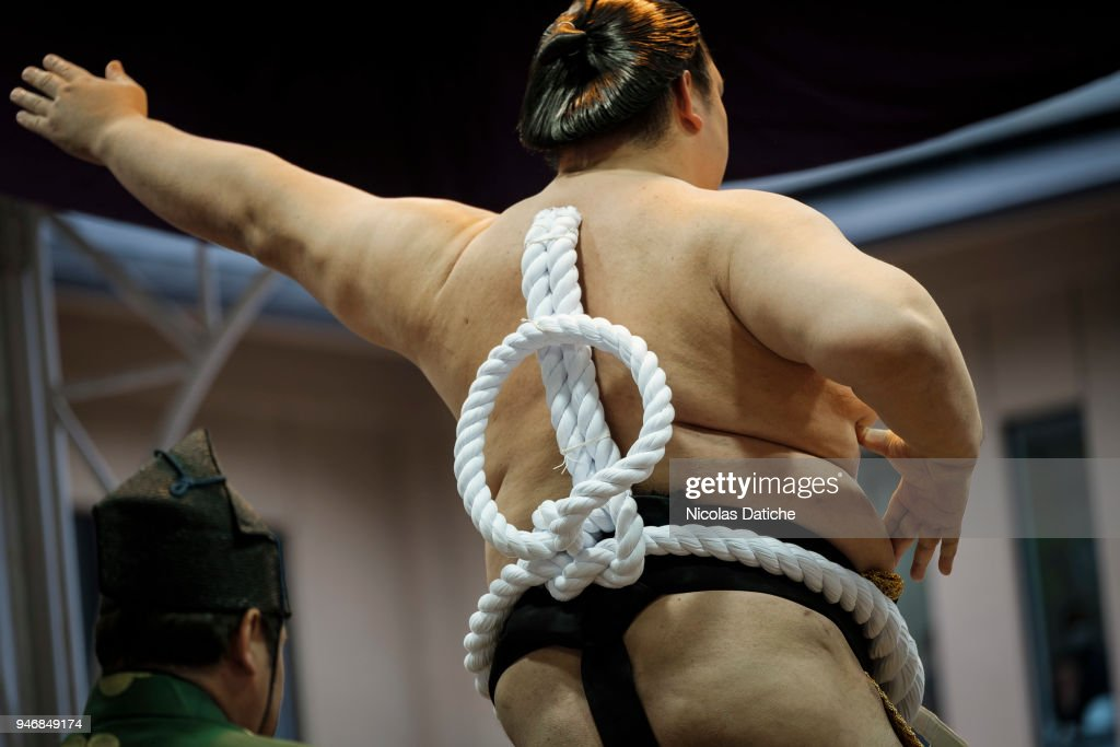 A Yokuzuna wrestler performs a ring-entering rite during 'Honozumo' ceremonial on April 16, 2018 in Tokyo, Japan. This annual offering of a Sumo Tournament to the divine at the Yasukuni Shrine has taken place since 1869.