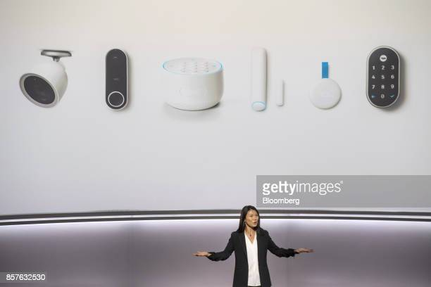 Yoky Matsuoka chief technology officer for Nest Labs Inc speaks about the Nest Cams and Nest Secure alarm system during a Google Inc product launch...