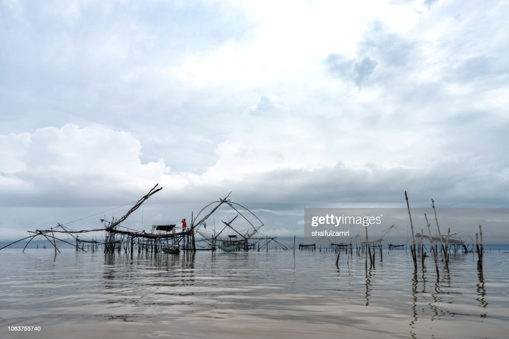 Yokyor is old style for fishing of Thai people at lake Thale Noi, Phatthalung, Thailand. : Stock Photo