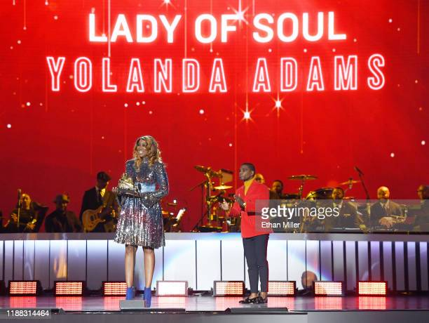 Yolanda Adams accepts the Lady of Soul award from Kirk Franklin at the 2019 Soul Train Awards presented by BET at the Orleans Arena on November 17...