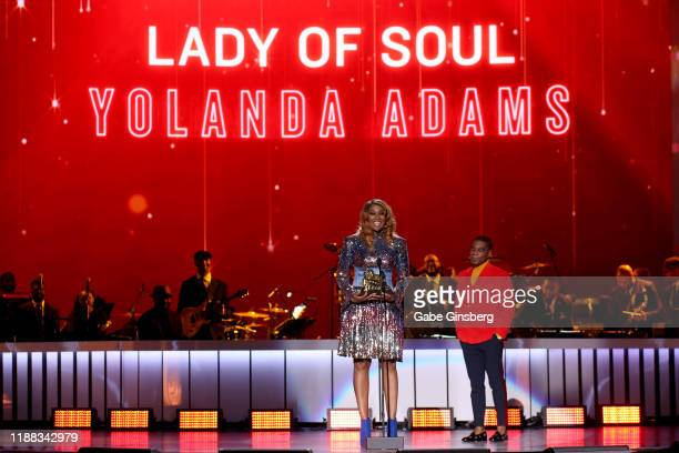 Yolanda Adams accepts the Lady of Soul award from Kirk Franklin during the 2019 Soul Train Awards at the Orleans Arena on November 17 2019 in Las...