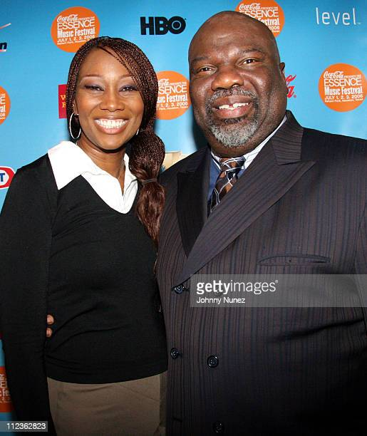Yolanda Adams and Bishop T D Jakes during Coca Cola Presents the 2006 Essence Music Festival Day 1 at Reliant Park in Houston Texas United States