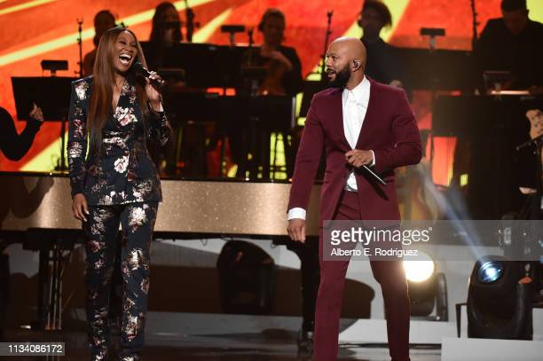 Yolanda Adams and Common perform onstage at AllStar Lineup Pays Tribute At Aretha A GRAMMYCelebration For The Queen Of Soul at The Shrine...