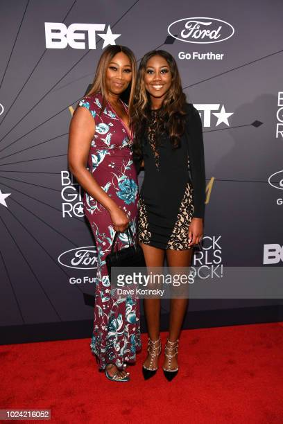 Yolanda Adams and Taylor Ayanna Crawford attend the Black Girls Rock 2018 Red Carpet at NJPAC on August 26 2018 in Newark New Jersey