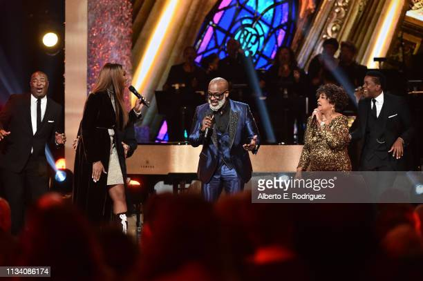 Yolanda Adams Bebe Winans and Shirley Caesar perform onstage at AllStar Lineup Pays Tribute At 'Aretha A GRAMMYCelebration For The Queen Of Soul at...