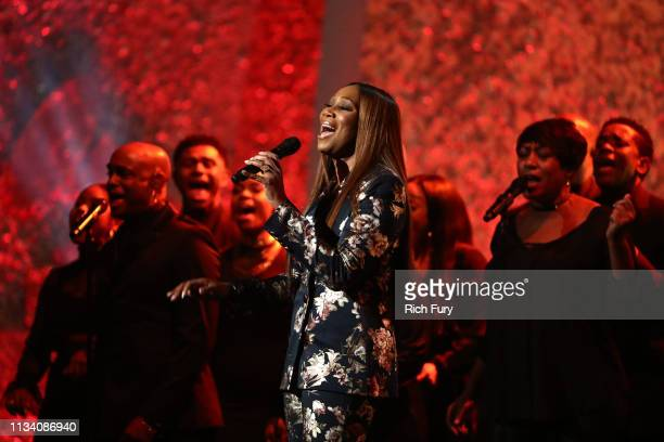 Yolanda Adams performs onstage at AllStar Lineup Pays Tribute At 'Aretha A GRAMMYCelebration For The Queen Of Soul at The Shrine Auditorium on...