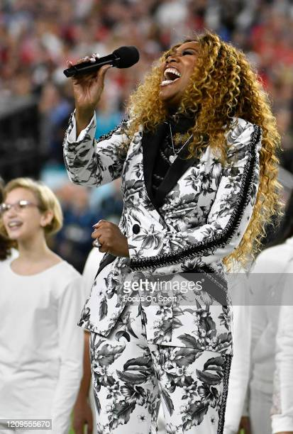 Yolanda Adams sings America The Beautiful prior to the start of Super Bowl LIV between the San Francisco 49ers and Kansas City Chiefs at Hard Rock...