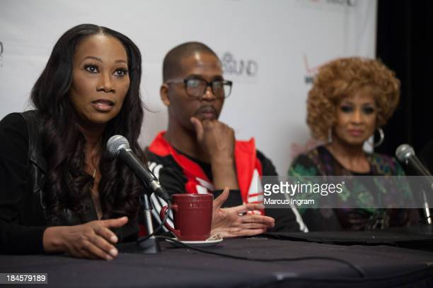 Yolanda Adams speaking while Donald Lawrence and Dorinda ClarkCole listen during Verizon's How Sweet the Sound 2013 Press Interview Session at...