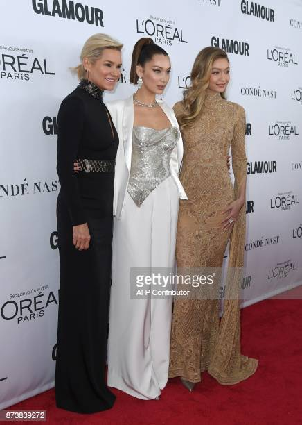 Yolanda Bella and Gigi Hadid attend Glamour's 2017 Women of The Year Awards at Kings Theatre on November 13 2017 in Brooklyn New York / AFP PHOTO /...
