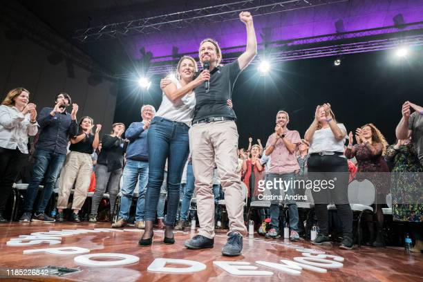 Yolanda Díaz and Pablo Iglesias during a rally of Podemos in Palexco A Coruña on November 3 2019 in A Coruna Spain