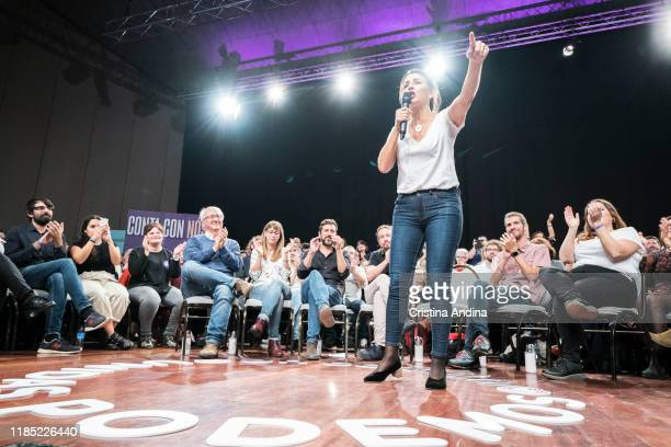 Yolanda Díaz attends a rally of Podemos in Palexco A Coruña on November 3 2019 in A Coruna Spain