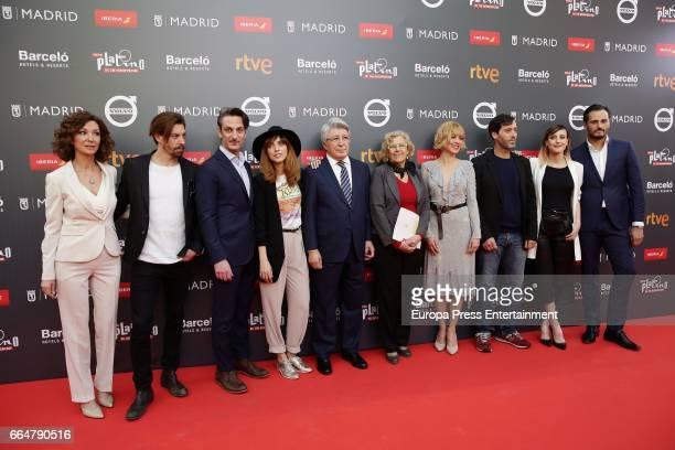 Yolanda Flores, actors Adrian Lastra, Ernesto Alterio, Leticia Dolera, producer Enrique Cerezo, Madrid Mayor Manuela Carmena, actors Maggie Civantos,...