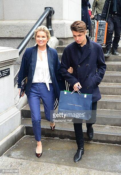 Yolanda Foster and Anwar Hadid are seen arriving at Tommy Hilfiger fashion show during Fall 2016 New York Fashion Week on February 15 2016 in New...