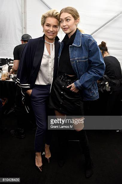 Yolanda Foster and Gigi Hadid pose backstage at the Tommy Hilfiger Women's Fall 2016 show during New York Fashion Week The Shows at Park Avenue...