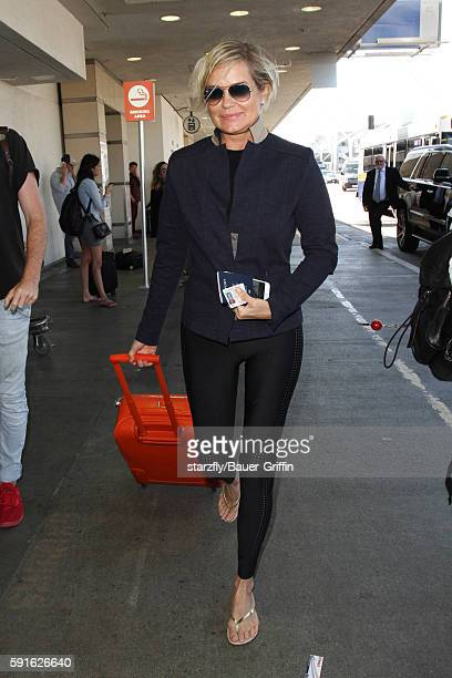 Yolanda Foster is seen at LAX on August 17 2016 in Los Angeles California
