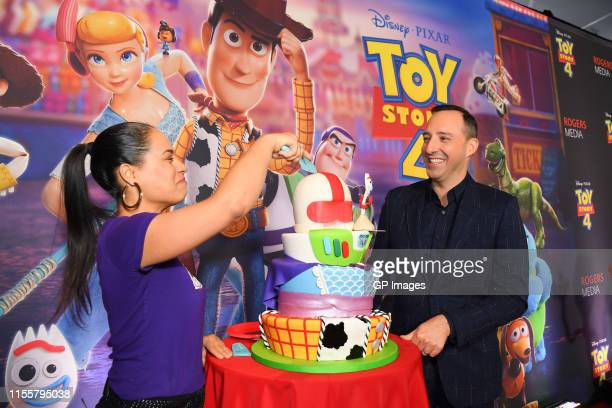 Yolanda Gampp and Tony Hale attend the 'Toy Story 4' Canadian Premiere held at Scotiabank Theatre on June 13 2019 in Toronto Canada