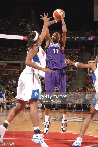Yolanda Griffith of the Sacramento Monarchs shoots against the Detroit Shock during Game Two of the 2006 WNBA Finals September 1 2006 at the Palace...