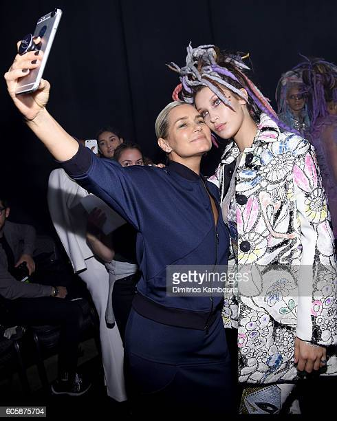 Yolanda Hadid and Bella Hadid pose for selfies backstage at the Marc Jacobs Spring 2017 fashion show during New York Fashion Week at the Hammerstein...