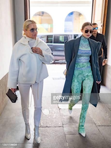 Yolanda Hadid and Gigi Hadid are seen during Milan Fashion Week Fall/Winter 2020-2021 on February 21, 2020 in Milan, Italy.
