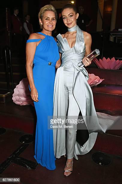 Yolanda Hadid and Gigi Hadid attend The Fashion Awards 2016 drinks reception at Royal Albert Hall on December 5 2016 in London United Kingdom