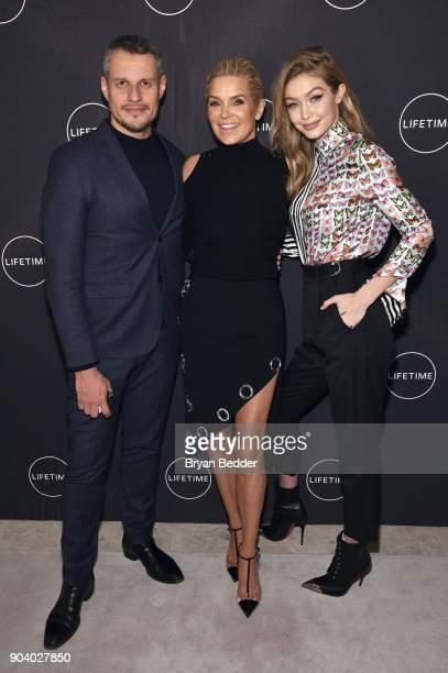 Yolanda Hadid and her daughter Gigi Hadid and Luiz Mattos celebrate her birthday and the premiere of her new Lifetime show 'Making A Model With...