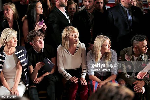Yolanda Hadid Anwar Hadid Taylor Swift Martha Hunt and Lewis Hamilton attend the #TOMMYNOW Women's Fashion Show during New York Fashion Week at Pier...