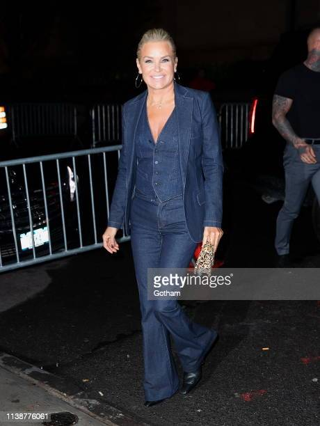 Yolanda Hadid arrives at Gigi Hadid's birthday party at Chalet on April 22 2019 in New York City