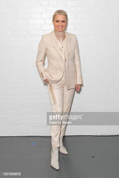 Yolanda Hadid attends the Burberry Autumn/Winter 2020 show during London Fashion Week at Kensington Olympia on February 17 2020 in London England