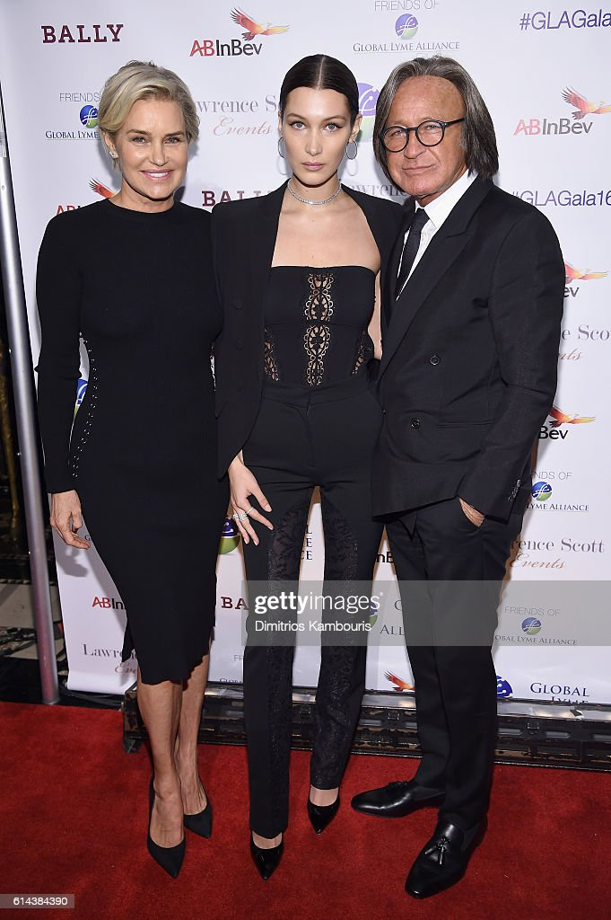 Yolanda Hadid, Bella Hadid, and Mohamed Hadid attend Global Lyme Alliance's second annual 'United For A Lyme-Free World' gala on October 13, 2016 in New York City.