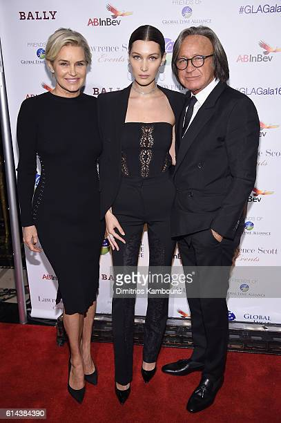 Yolanda Hadid Bella Hadid and Mohamed Hadid attend Global Lyme Alliance's second annual 'United For A LymeFree World' gala on October 13 2016 in New...