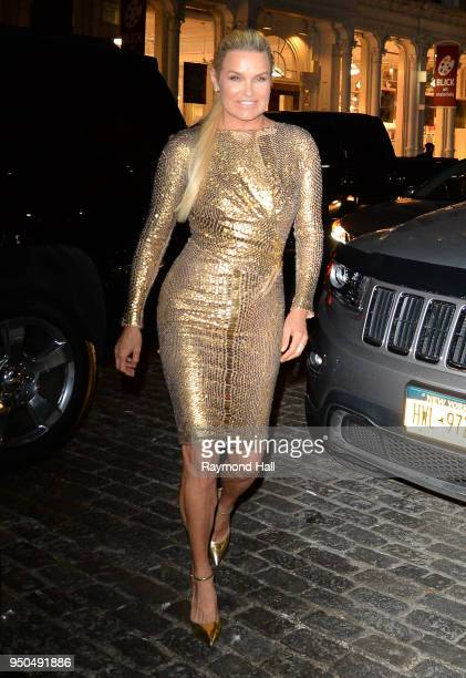 Yolanda Hadid is seen arriving at gigi birthday party on April 23 2018 in New York City