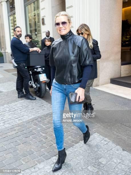 Yolanda Hadid is seen during Milan Fashion Week Fall/Winter 2020-2021 on February 23, 2020 in Milan, Italy.