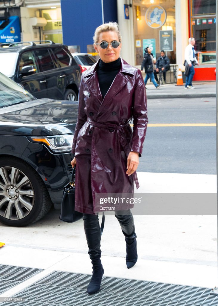 Yolanda Hadid is seen on February 15, 2018 in New York City.
