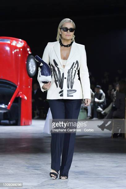 Yolanda Hadid walks the runway during the Off-White show as part of the Paris Fashion Week Womenswear Fall/Winter 2020/2021 on February 27, 2020 in...