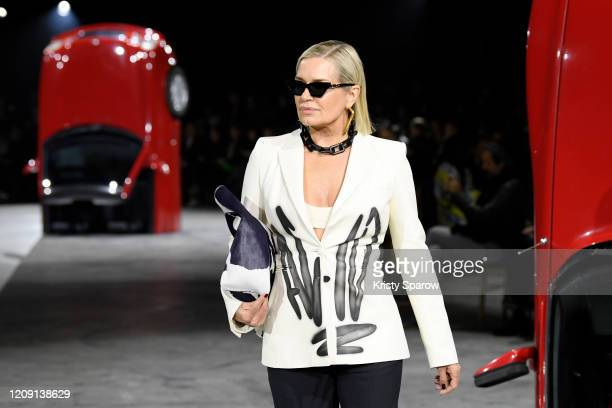 Yolanda Hadid walks the runway during the Off-White show as part of Paris Fashion Week Womenswear Fall/Winter 2020/2021 on February 27, 2020 in...