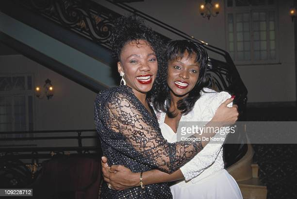 Yolanda King daughter of American civil rights leader Dr Martin Luther King Jr embraces opera singer Cynthia Haymon who stars in 'King the Musical'...