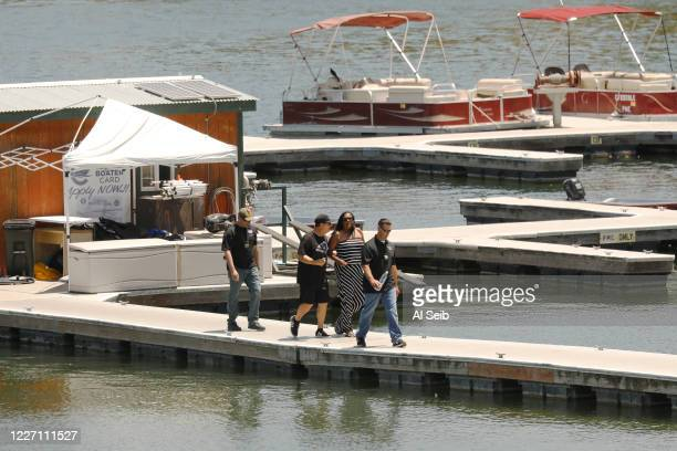 Yolanda Rivera Mother of Naya Rivera on the boat docks Monday afternoon after visiting the site where her daughters body was found in Lake Piru after...