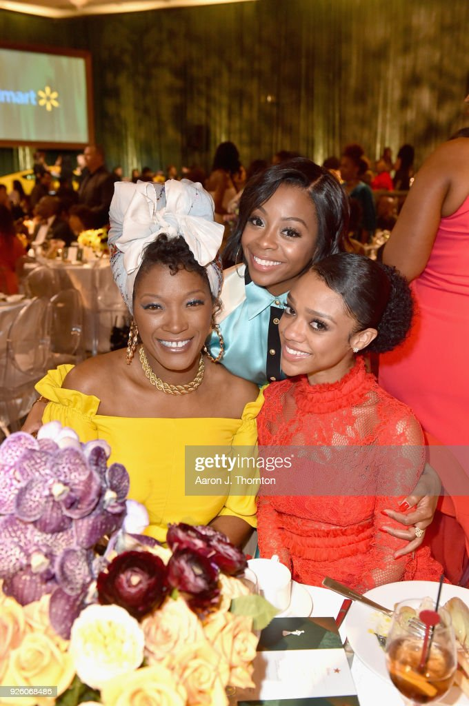 Yolanda Ross, Bresha Webb, and Tiffany Boone attend the 2018 Essence Black Women In Hollywood Oscars Luncheon at Regent Beverly Wilshire Hotel on March 1, 2018 in Beverly Hills, California.