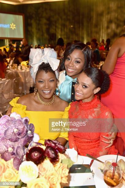 Yolanda Ross Bresha Webb and Tiffany Boone attend the 2018 Essence Black Women In Hollywood Oscars Luncheon at Regent Beverly Wilshire Hotel on March...