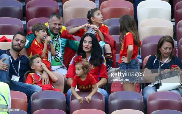 Yolanda Ruiz wife of goalkeeper of Spain Pepe Reina and their five kids during the 2018 FIFA World Cup Russia Round of 16 match between Spain and...