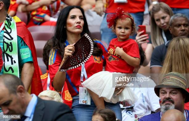 Yolanda Ruiz wife of goalkeeper of Spain Pepe Reina during the 2018 FIFA World Cup Russia Round of 16 match between Spain and Russia at Luzhniki...