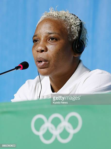 Yolande Bukasa Mabika, a refugee from the Democratic Republic of the Congo living in Brazil, speaks in a press conference in Rio de Janeiro on July...