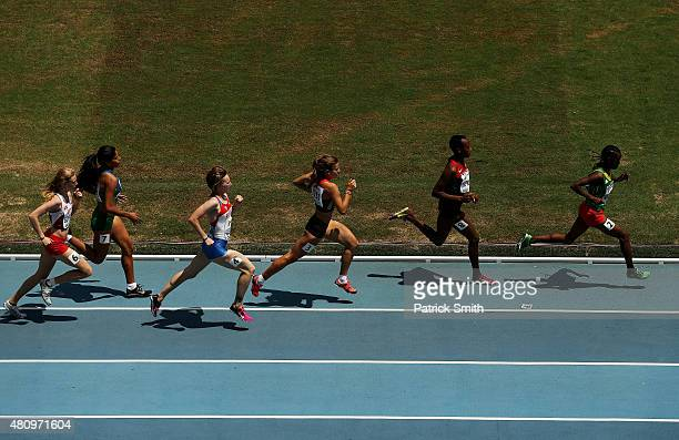 Yolandi Stander of South Africa and Alexandra Emilianov of Moldova lead the field during round one of the Girls 800 Meters on day two of the IAAF...