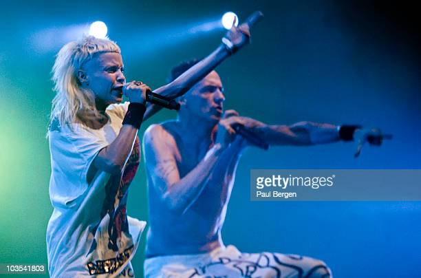 YoLandi Vi$$er and Ninja of SouthAfrican hiphop group Die Antwoord perform on stage on Lowlands Festival August 21 2010 in Biddinghuizen Netherlands