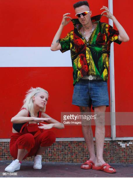 YoLandi Vi$$er and Ninja of the South African band Die Antwoord pose on February 9 2010 in Cape Town South Africa Die Antwoord is a zef raprave crew...